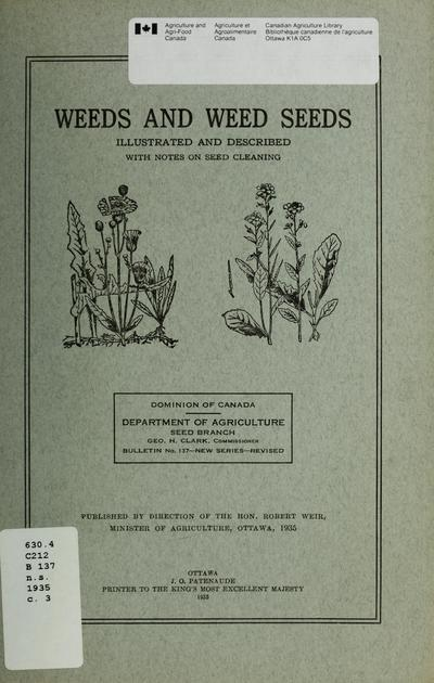Weeds and weed seeds : illustrated and described.