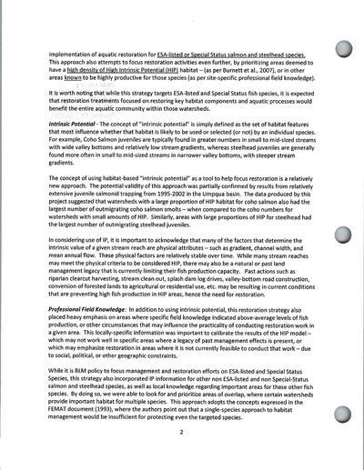 BLM Western Oregon Aquatic Restoration Strategy : procedural summary and report, Oregon / Washington BLM State Office
