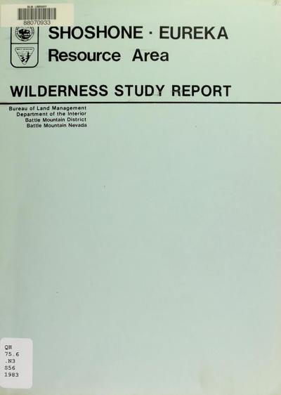 Shoshone-Eureka Resource Area : wilderness study report