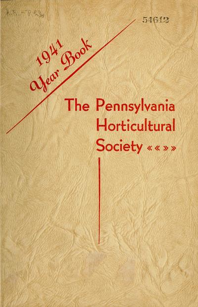Year book of the Pennsylvania Horticultural Society.