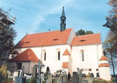 Čížová, okrPI, kostele sv. Jakuba Většího, jižní fasáda, pohled od J.