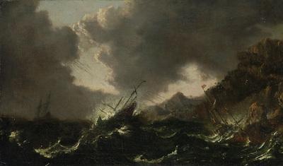 Ein Seesturm mit Schiffen