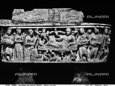 Christian sarcophagus with a funeral banquet preserved in the Gregorian Profane Museum in Vatican City. It was transferred from the Lateran Museum in 1970