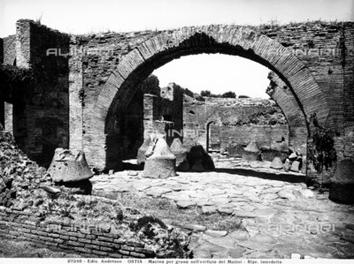The mill building in Ostia Antica, with the lava millstones used to grind grain