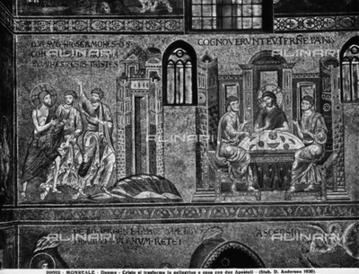 Christ turning into a pilgrim and the dinner with two Apostles, two episodes in the Life of Christ, taken from the cycle of mosaics in the Cathedral of Monreale