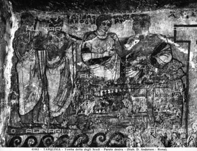 Banquet scene, detail of a painting in the Tomb of the Shields, in the necropolis of Tarquinia.