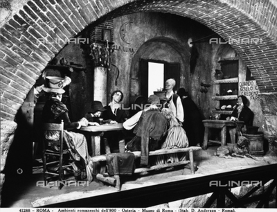 19th century Roman settings: the photo shows a typical tavern of the period. It is on display at the Museum of Rome, Rome