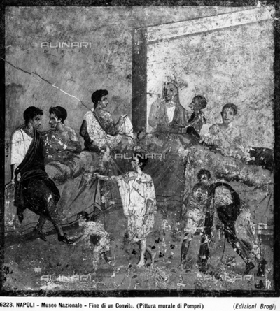 Pompeian wall painting representing a banquet preserved in the National Archaeological Museum in Naples.