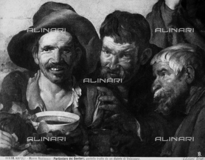 Drinkers, pastel from a work of Velasquez; work preserved in the Museum of Capodimonte in Naples.