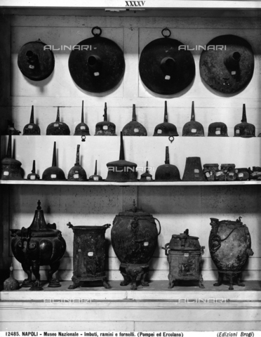 Funnels, stoves and various cooking utensils. These finds from Pompeii and Herculaneum are now kept at the National Archaeological Museum in Naples.