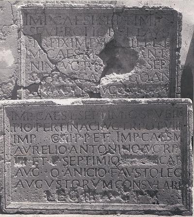 Dedication to Septimius Severus, Caracalla and Geta