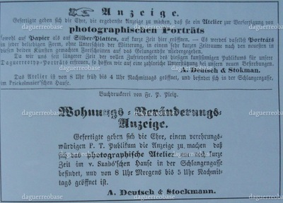 newspaper advertisement of A. Deutsch and N. Stokman in the Temeswarer Wochenblatt