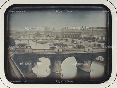 City scenery, bridges crossing the river (Paris, Seine, Pont Neuf)