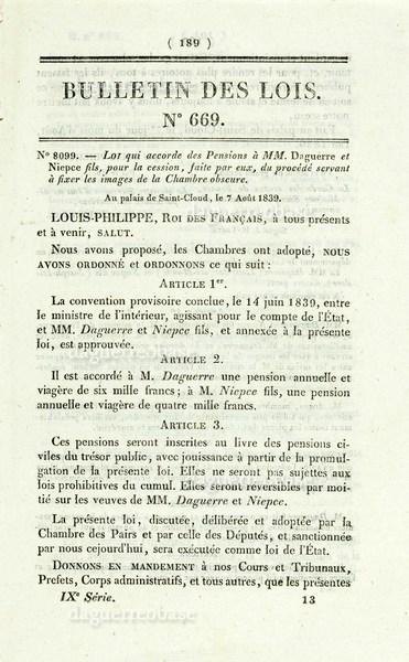 Pension Daguerre et Niepce - Bulletin des Lois No 669 - 1839