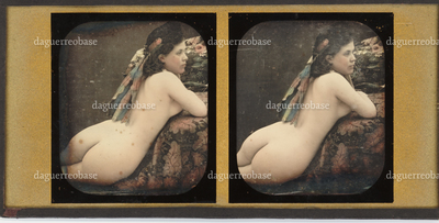 Academic study, a naked woman sitting in a chair, viewed from the back