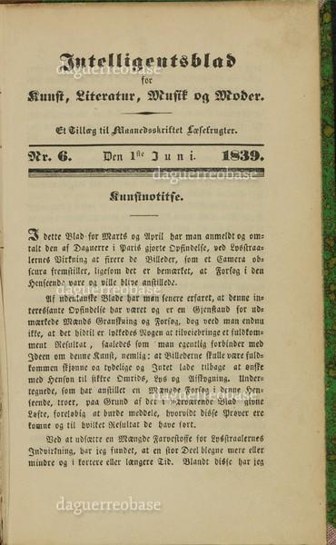 Intelligentsblad for Kunst, Literatur, Musik og Moder ...No. 6-1839