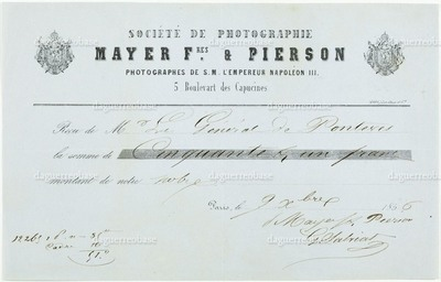 Invoice of 'Société de Photographie Mayer Frères & Pierson', to 'Mr Le Général de Ponteres', for 51 Francs, dated 1856, and signed by Mayer and Pierson