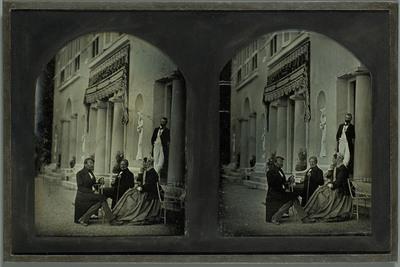 Beaulieu: Jean-Gabriel Eynard, sa femme Anna, Edourd Gaulis et Aloïs Diodati sur la terrasse du domaine
