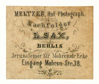 Etikett von Meltzer, Nachf. L. Sax