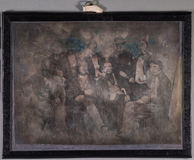 Group portrait on men, Felix Cheuvreuil (Cette), Jens Bing (Fredriksstad, Arthur Weber (Antwerpen), Fredrik Åslund (Sundsvall), Leonard Hellgren (Sundsvall), Alexander Thiis (Karleby) and Ivan Abeko (?).