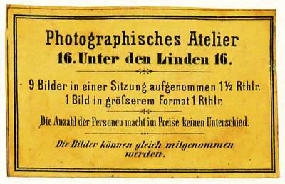 Etikett von Photographisches Atelier