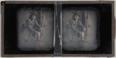 genre tafereel; jongeman, fluitspeler / herder, zelfde personage als in HMR-34547-2 en -6; op de achtergrond een muziekinstrument (? alpenhoorn)