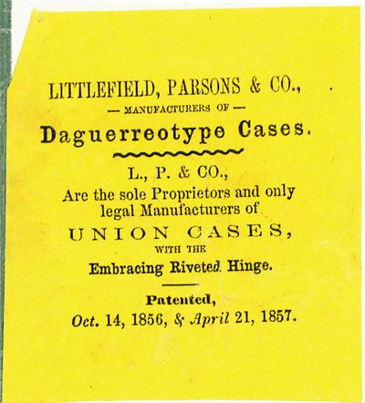 Zwei Etiketten des Union Case Herstellers Littlefield, Parsons & Co.