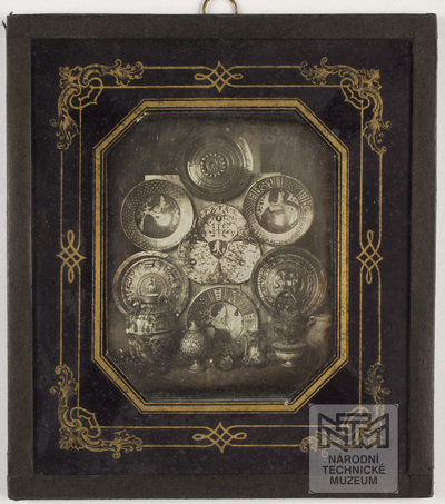 Still Life - metal plates, ceramic basins and jars