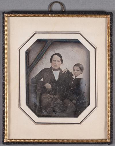 Portrait of Mr. Fredrik Mikander (15.4. 1805) and his son Hugo Fredrik Wallentin (14.2.1841). Partly colored.