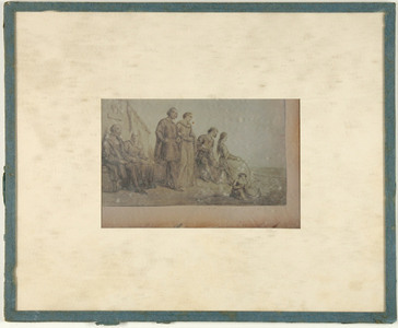 reproduction of a etching, depicting eight persons, namely four couples of different age: elderly, adult, adolescent and infantile