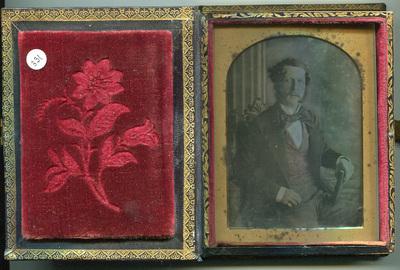 Tinted  portrait of waistcoat gentleman in 'Bijou' case.