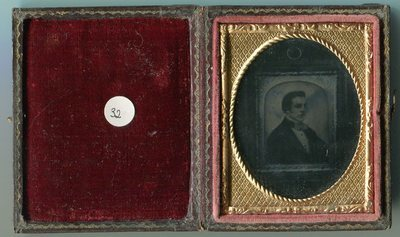 Ferrotype reproducing a daguerreotype portrait of a man