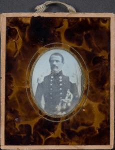 Portrait of captain Luigi Ferrari holding his sword