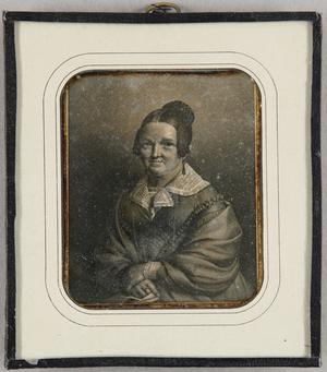Grafikreproduktion einer älteren Frau mit weißem Kragen, Brustbild.