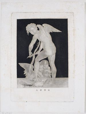 Amor als Bogenschnitzer, reproduction of a siderograph by Paul Gleditsch after Parmigianino