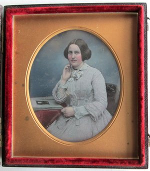 Case stamped with crest of Beard, 31 King William Street, see digital image / Portrait of Katherine Smee, the niece of Thomas and Lydia Eaton.  See EP297