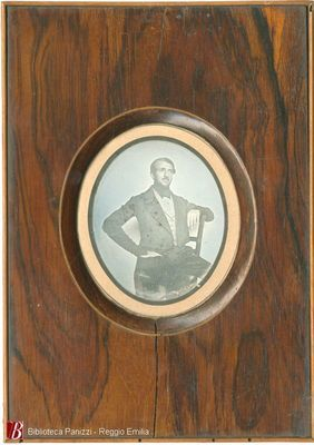 Plate is mounted in a wood frame like a miniature. Polishing lines are horizontal. See BP_50200 for portrait of wife