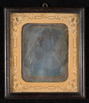 Portrait of a woman. Daguerreotype of a drawing or print (lithography?). Oxidized plate.