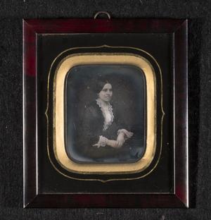 Portrett av Mina Oline Vilhelmine Christiane Grundtvig (født Stenersen).  Portrait of Mina Oline Vilhelmine Christiane Grundtvig (born Stenersen).