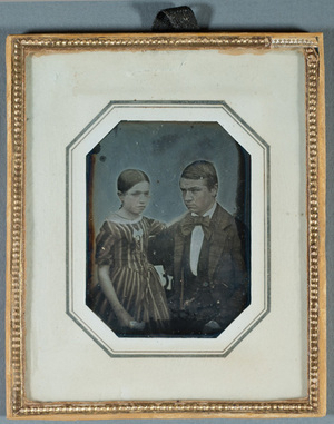 Portrait of Frithiof and Ingeborg Wolff, children of Counsellor for Commerce C.G. Wolff, coloured details.