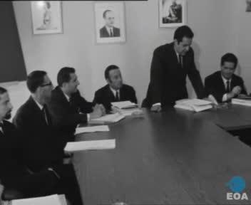 Συνεδρίαση των Συμβουλευτικών Επιτροπών του Υπουργείου Βιομηχανίας υπό την προεδρία του Υπουργού Βιομηχανίας Κωνσταντίνου Κυπραίου στην Αθήνα
