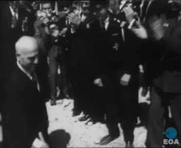 Θεμελίωση της οδού Βασιλέως Παύλου από τον Αντιπρόεδρο της Κυβέρνησης Στυλιανό Παττακό στο Πέραμα