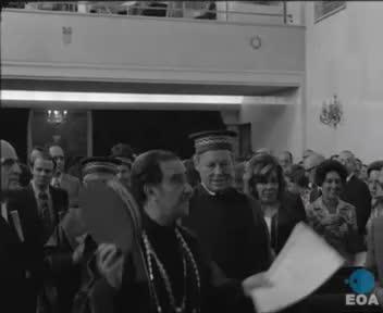 Τελετή αναγόρευσης του Προέδρου του Σοσιαλδημοκρατικού Κόμματος Γερμανίας Βίλλυ Μπραντ σε επίτιμο διδάκτορα της Παντείου Ανωτάτης Σχολής Πολιτικών Επιστημών