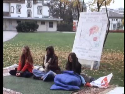 FRIBOURG, SWITZERLAND: HUNGER STRIKE BY YOUNG PEOPLE PROTESTING MILITARY PARADE
