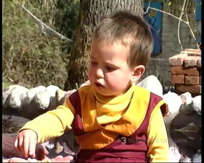 Lama children in tug of war