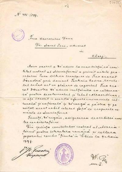 Corespondenţă Asociaţia pentru Literatura Română şi Cultura Poporului Român, Sibiu - Aurel Isac