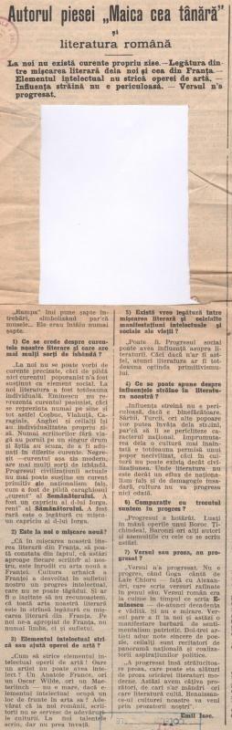 """Autorul piesei """"Maica cea tânără"""" și literatura română"""