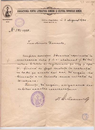 Corespondență Asociația pentru Literatura Română și Cultura Poporului Român, Sibiu - Aurel Isac