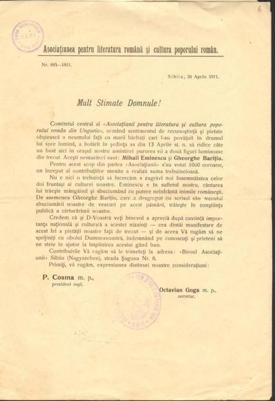 Corespondență Asociaţia pentru Literatura Română şi Cultura Poporului Român, Sibiu - Aurel Isac