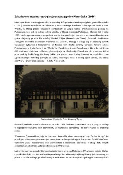 Zakończono inwentaryzację krajoznawczą gminy Platerówka [Dokument elektroniczny]